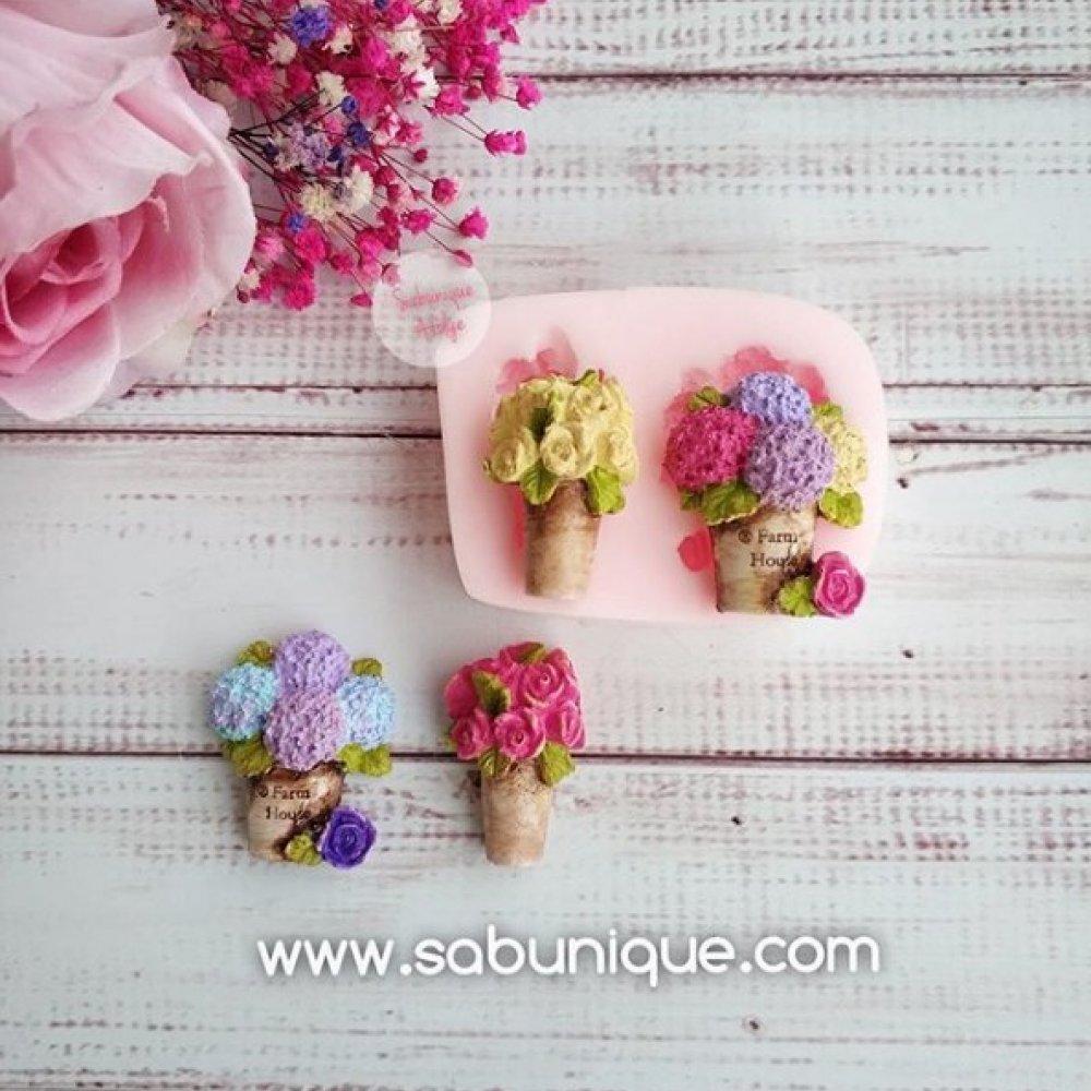 İkili Minyatür Saksılı Çiçekler Silikon Kalıbı