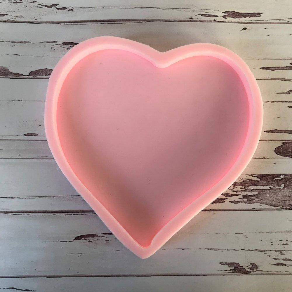 D -Büyük  Kalp İsim Tabanlık Silikon Kalıbı