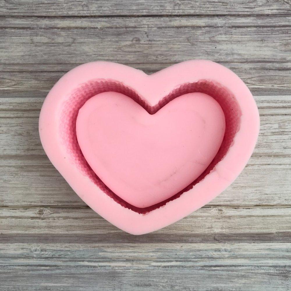 D - Örgü Desenli Kalp Saksı - Tabak Silikon Kalıbı