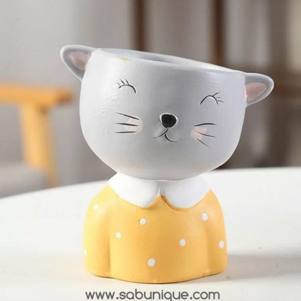 Sevimli Kedi Saksı Silikon Kalıbı
