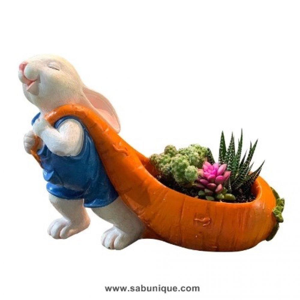 Havuçlu Büyük Tavşan Saksı Silikon Kalıbı