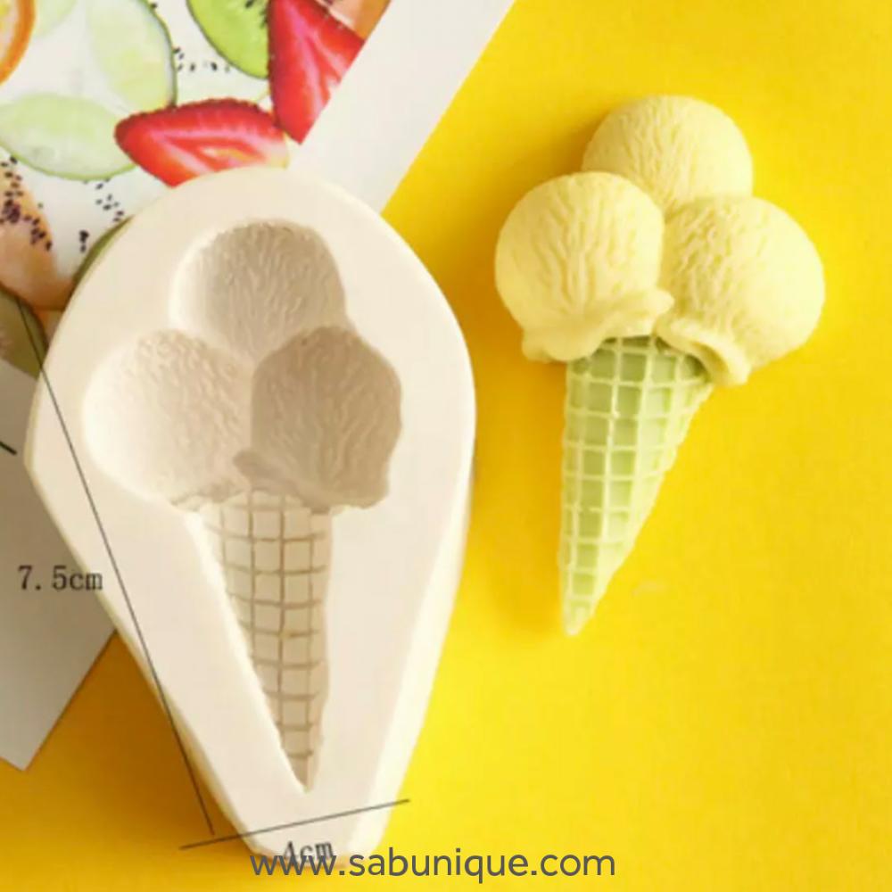Üç Top Dondurma ( Yassı Form) Silikon Kalıbı