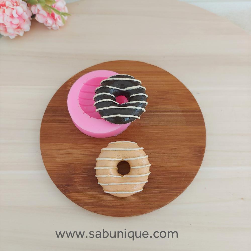 Çizgi Kremalı Donut Silikon Kalıbı