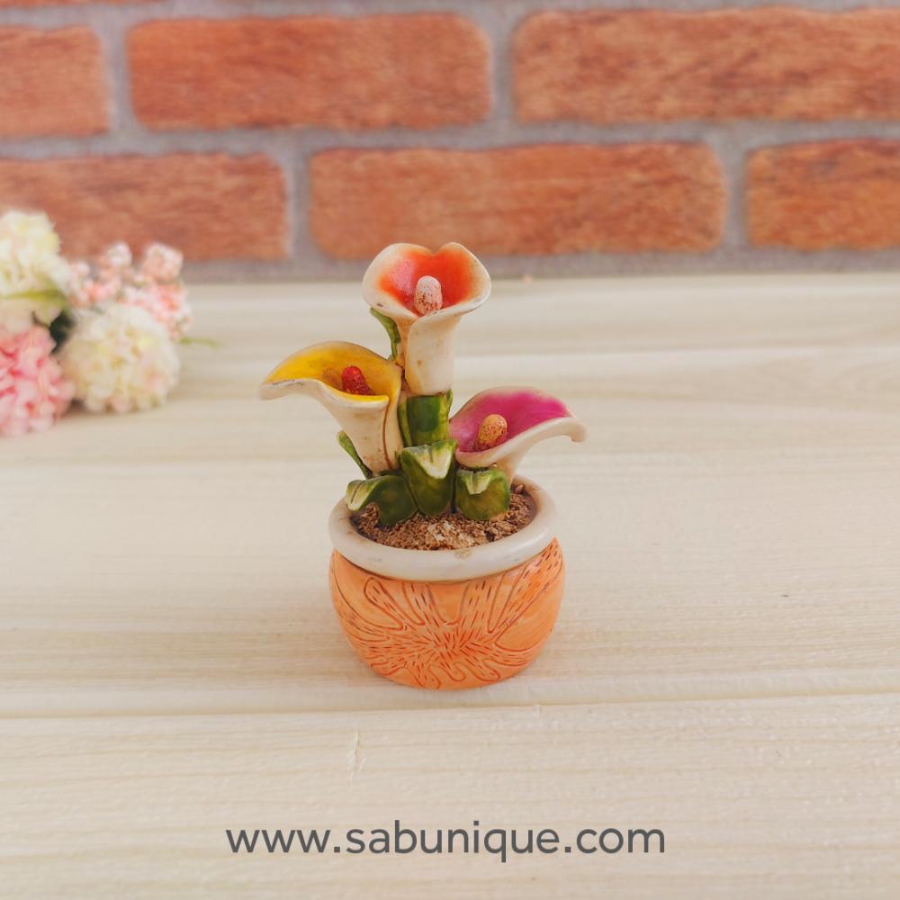 Minyatür Saksıda Gala Çiçekleri Silikon Kalıbı