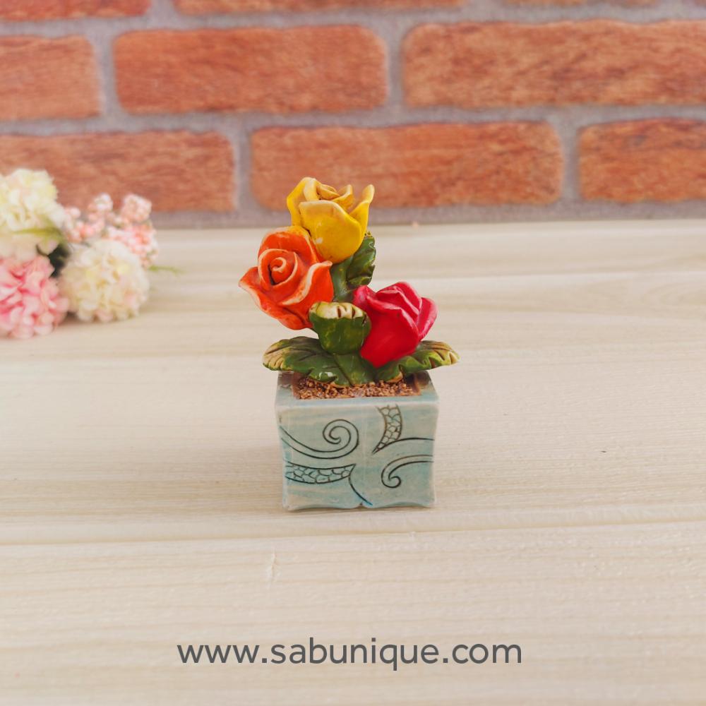 Minyatür Saksıda Güller Silikon Kalıbı