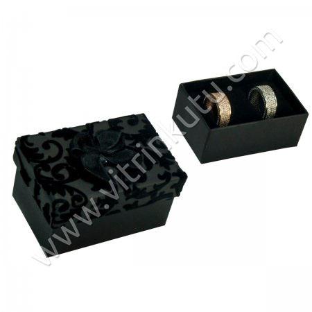 Sarmaşıklı Alyans Kutusu 7x5 cm Kurdeleli Siyah