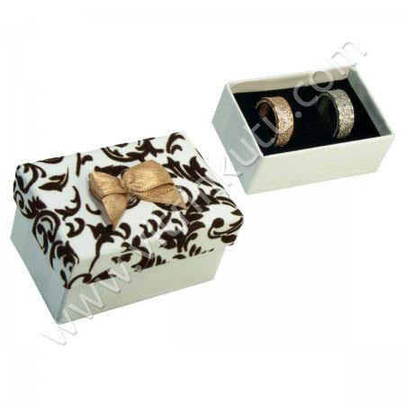 Sarmaşıklı Alyans Kutusu 7x5 cm Kurdeleli Beyaz