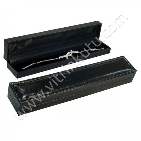 Rugan İnce Bileklik Kutusu Deri 4x22 cm Siyah