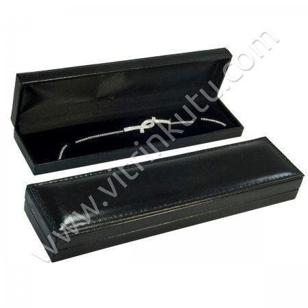 Rugan İnce Bileklik Kutusu Deri 5.5x22 cm Siyah