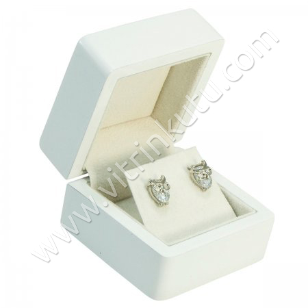 Küpe Takı Kutusu 6x6 cm Ahşap Beyaz