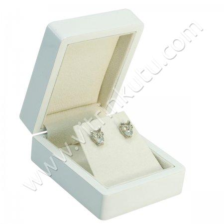 Küpe Takı Kutusu 6x8 cm Ahşap Beyaz