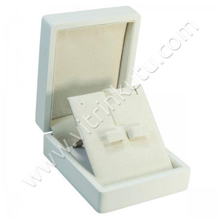 Ahşap Üçlü Set Takı Kutusu  Cilalı 9x11 cm Beyaz