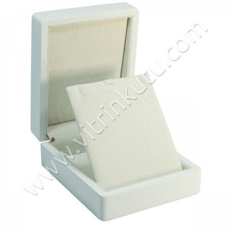 Ahşap Kolye Kutusu 9x11 cm Cilalı Beyaz