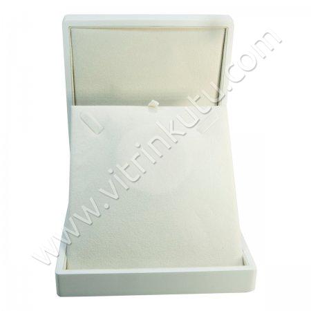 Ahşap Kolye Kutusu 16x18 cm Büyük Beyaz