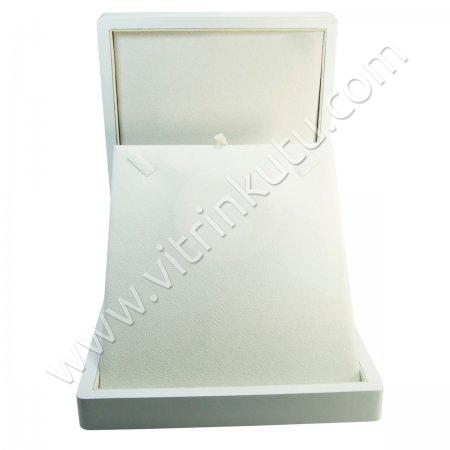 Ahşap Kolye Kutusu 19x22 cm Büyük Beyaz