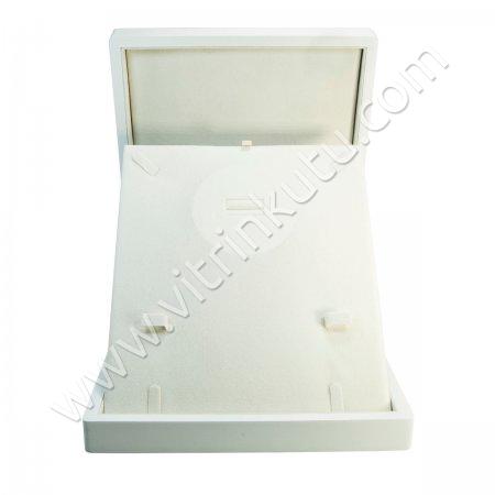 Ahşap Set Takı Kutusu  22x26 cm Büyük Beyaz Cilalı