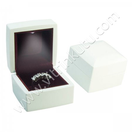 Ahşap Işıklı Tırnaklı Yüzük Kutusu 6x6 cm Beyaz