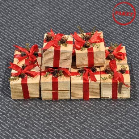 Kibrit Yüzük Kutusu 5x5 cm Mavi Kuşaklı Ağaç 12'li Paket