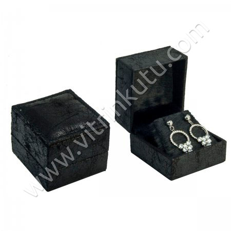 Deri Küpe Kutusu 6.5x6 cm Siyah