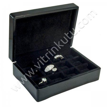 Ahşap Yüzük Kutusu Çoklu  16x11 cm 15 Tırnaklı Siyah Cilalı