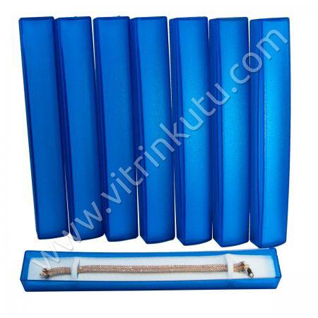 Tespih Bileklik Kutusu 22x3 cm Süngerli Mavi Plastik  35'li
