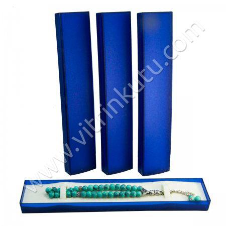 Tespih Bileklik Kutusu 24x4.5 cm Süngerli Mavi 24'lü Paket