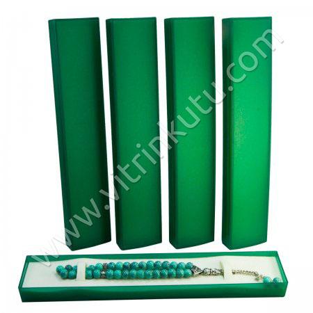 Tespih Bileklik Kutusu 24x4.5 cm Süngerli Yeşil 24'lü Paket