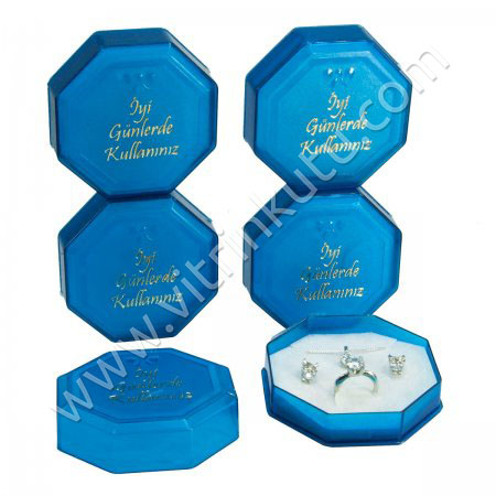 Sekizgen Bilezik Kutusu 8.5x8.5 cm Mavi Plastik 24'lü Paket