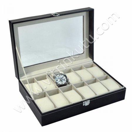 Çoklu Saat Kutusu 12'li  Yastıklı Cam Kapaklı Deri 30x20 cm