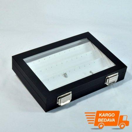 Çoklu Küpe Kutusu 24x17 cm  Cam Kapaklı Deri