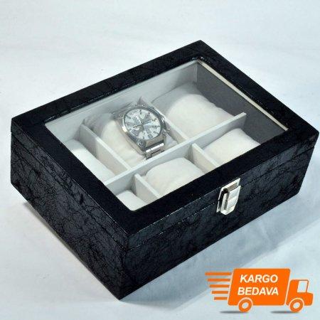 Çoklu Saat Kutusu  24x17 cm Deri Cam Kaplı 6'lı