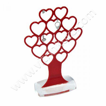 Grup Küpe Standı 14 Çiftli Kalpli Ağaç Kırmızı