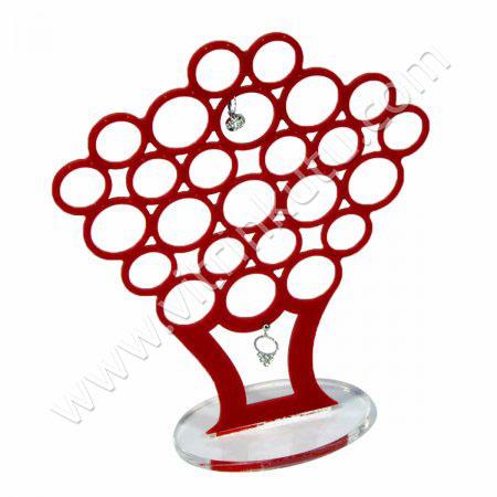 Çoklu Küpe Standı 26 Çiftli Kırmızı Ağaç