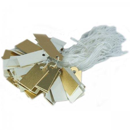 İpli   Fiyat Etiketi Gold Beyaz Karton 2x1 cm  80 Adet