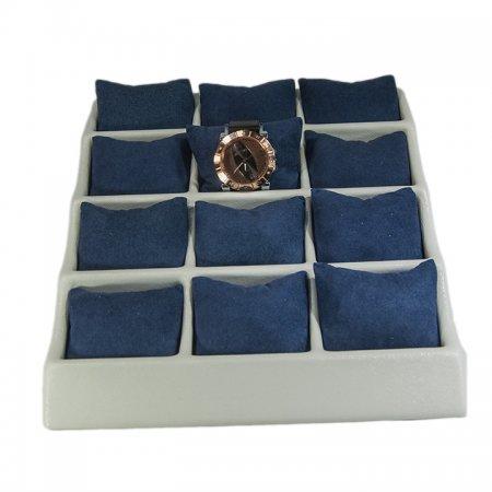 Yastıklı Saat Bileklik Standı 12 Bölmeli Krem Plastik