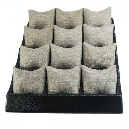 Yastıklı Saat Bileklik Standı 12 Bölmeli Siyah Plastik