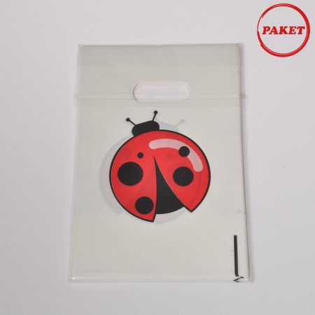 Hediyelik El Geçme Poşet Uğur Böceği Baskılı 100'lü Paket  10x15 cm