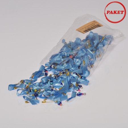 Çengel İğneli  Mavi Kurdeleli Nazarbocuğu 100'lü Paket