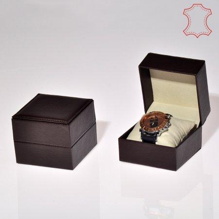 Deri Saat Kutusu 10x10 cm  Yastıklı Deri Dikişli