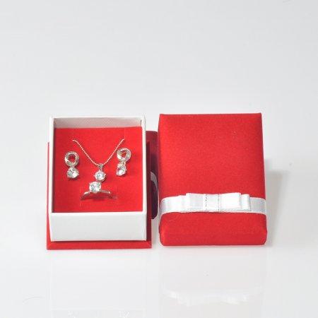 Mini Set Takı Kutusu 7x9  cm  Kadife Kurdele Kuşaklı