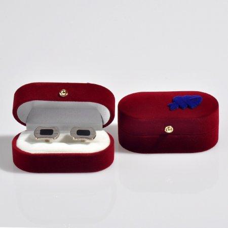 Kalp Süslü Kadife Flok Oval Çift Alyans ve Kol Düğmesi Kutusu