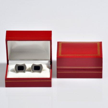 Kol Düğmesi Kutusu 7.5x5 cm Yaldız İşlemeli Kartier