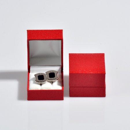 Kol Düğmesi Kutusu 5x5.5 cm Desenli Deri Kartier