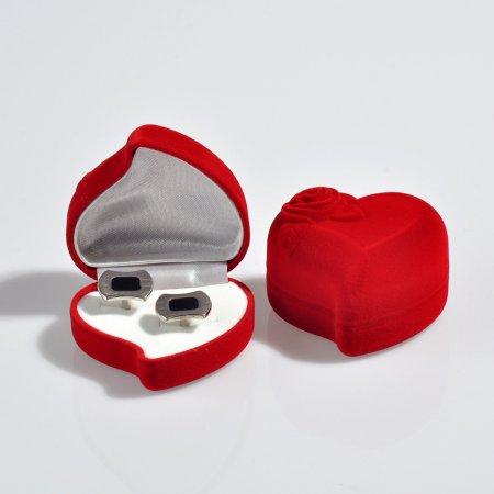Kalpli Kol Düğmesi Kutusu 6x5 cm Gül Kabartmalı Flok Kadife