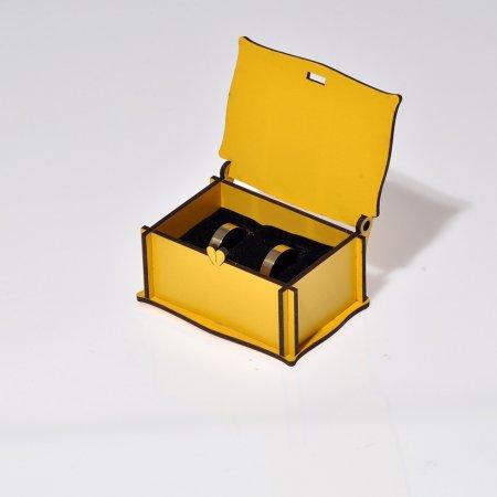 Ahşap Çift Alyans Takı Kutusu  8x6 cm Lazer Kesim