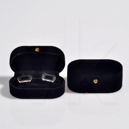 Oval Kol Düğmesi Kutusu 7.5x4x3.5 cm Siyah Toptan