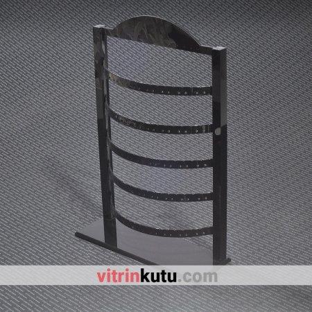 Küpe Takı Standı 57 Çift Ayarlanabilir Tam Siyah Pleksi