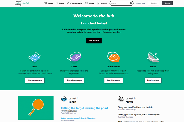 We've launched the hub, our patient safety learning platform
