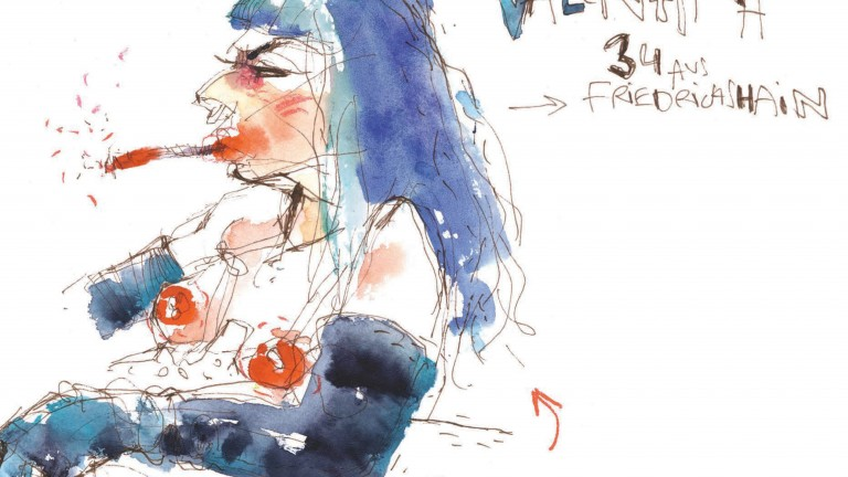 Valentina (34) from Friedrichshain let herself be drawn in Berghain. (Drawing: Hedo Berlin)