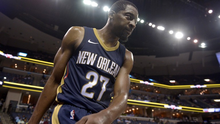 New Orleans Pelicans guard Jordan Crawford (27) plays in the second half of an NBA basketball preseason game against the Memphis Grizzlies Friday, Oct. 13, 2017, in Memphis, Tenn. (AP Photo/Brandon Dill) | (Foto: picture alliance/AP Images)